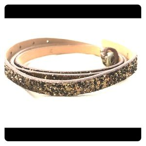 JCREW Brown Sparkly Skinny Glitter Belt!
